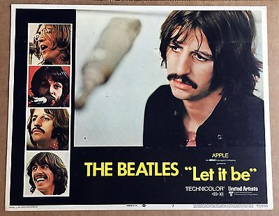 THE BEATLES LET IT BE Original Lobby Card 1970 RINGO STARR Rare