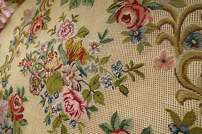 400 Stitches Various Flowers Rare Handmade Pre-worked Needlepoint Canvas