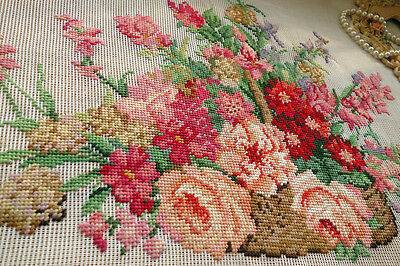 Various Flowers In Basket Hand Crafted Preworked Needlepoint Canvas