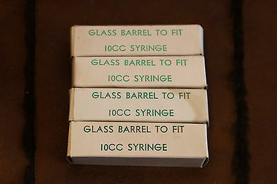 4 Vintage Veterinary 10CC Glass Syringe Barrels in Original Boxes Haver-Lockhart