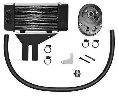 Jagg Chrome Horizonal Low Mount 10 Row Oil Cooler Kit Harley Dyna 91-16