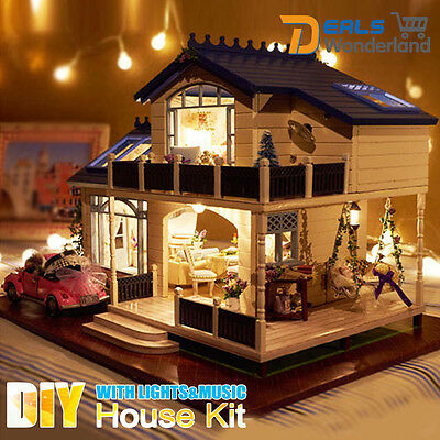DIY Wooden Handcraft Mini Kit Lights Music Provence lavender Doll  House Decor