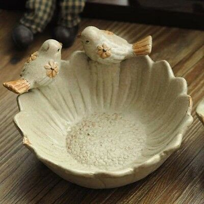 Vintage Antique Ashtray Snack Bowl Ceramic Bird Cow Decor Key Coin Desk Stroage