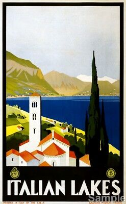 Vintage Italian Lakes Italy Travel Poster European Art Re-Print A3 A4