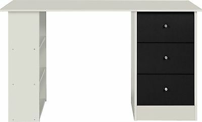 New Malibu 3 Drawer Desk - Black on White.