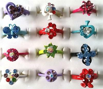 Bulk Lot x 5 Girls Rhinestone Party Rings Adjustable Bands Mixed Colours Styles