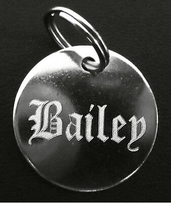 Engraved Pet Tags Collar ID Disc Cat Kitten Dog Puppy Engraving Old English Name