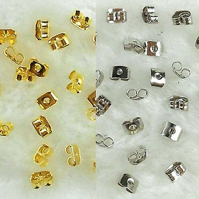 100pcs 6mm Gold Silver Erfly Earring Backs Stopper Scroll Ear Post Findings