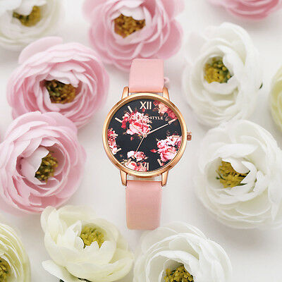 Women's Leather Stainless Steel Floral Wrist Watch Ladies Analog Quartz Watches