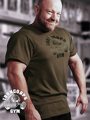 Skull and Barbells Men's Relaxed Fit Workout Tee/ Gym T-Shirt, Battlefield Green