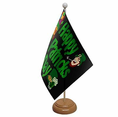 """Happy St Patricks Day Black Table Flag 9""""x6"""" With Wooden Base Flags"""