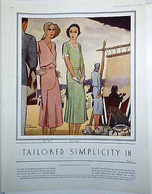 "1930 McCALL'S MAGAZINE Pattern Ad ""TAILORED SIMPILCITY"" Illustration by J. Evans"