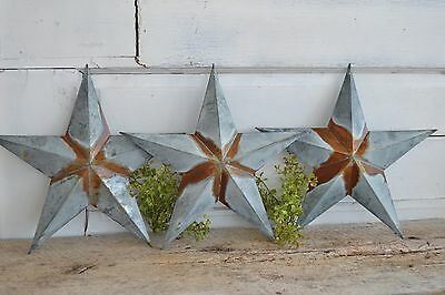 "Set of 3 12"" GALVANIZED RUSTY BARN STARS Metal Tin  Primitive Country"