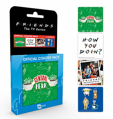Friends TV Series Officially Licenced 4 Coasters Set Central Perk NEW Gift Boxed