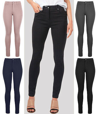 New Womens Fashion Skinny High Waist Denim Style Trousers Leggings Jeans UK