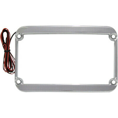 Klockwerks WFB Chrome Lighted License Plate Tag Frame for Harley FLH FLST