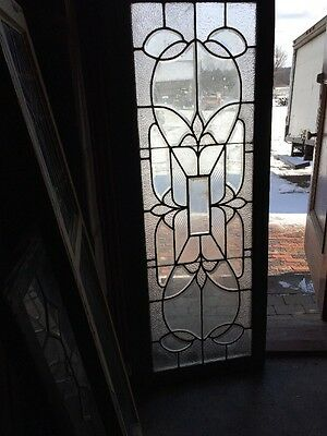 Sg 996 Antique Beveled Glass And Textured Glass Transom Window 23 X 58.5