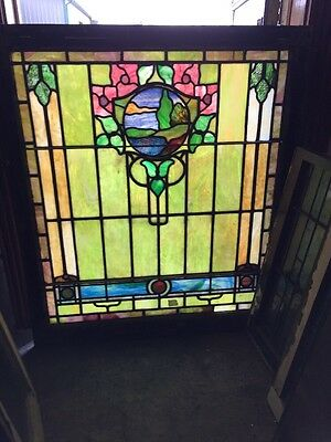 Sg 1003 Antique Stainglass Landscape Landing Window 38 X 44""