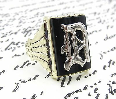 Antique Mens Black Onyx Signet Ring 14k Yellow Gold Monogrammed Inital D