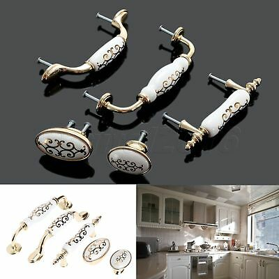 Fashion Flower Ceramic Kitchen Cabinet Knobs Drawer Dresser Door Pull Handles