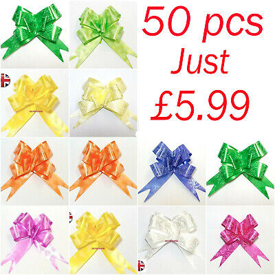 50 LARGE 30mm Ribbon Bow assorted color easy pull flower ribbon party decoration