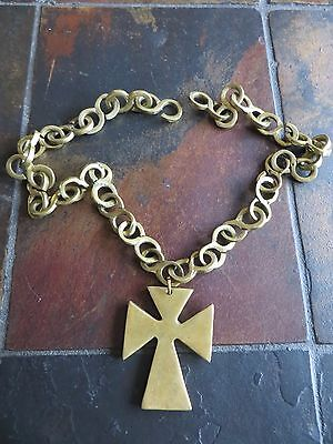 Antique Heavy Bronze Brass Ethiopian Coptic Hand Crafted Cross necklace rare!
