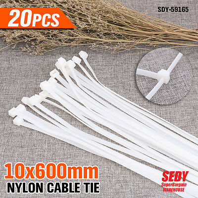 NEW 20x White Wide Nylon Cable Ties 10mmX 600mm (10x600mm) Free Postage