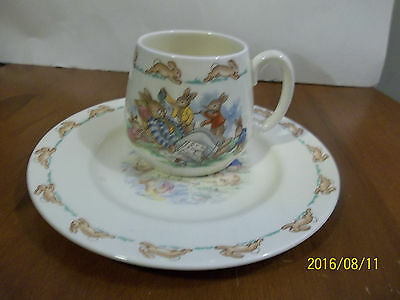 """Royal Doulton BUNNYKINS Cup & Plate, Made in England, 7.5"""" plate"""