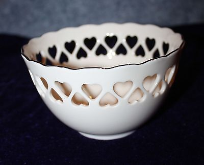 Scallop Edge Lenox Small Bowl Pieced Heart Gold Trimmed Embossed
