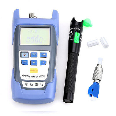 Fiber Optical Power Meter Aluminum Alloy 20mW Visual Fault Locator FC-LC Adapter
