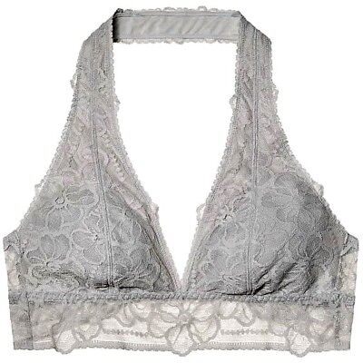 0ce86ea4e0 NWT Victorias Secret PINK Floral Lace Unlined Halter Bralette Light Grey S  M L