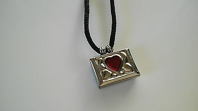 Taweez Power Amulet Red Heart Locket Spiritual Pendant Luck Love W/ Black Cord S