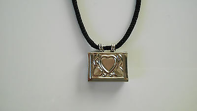 Taweez Power Amulet Heart Locket Spiritual Pendant Luck Love W/ Black Cord Small
