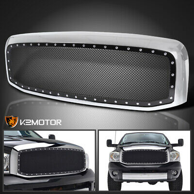 2006-2008 Dodge Ram 1500 2500 3500 Chrome Rivet Style SS Wire Mesh Grille+Shell