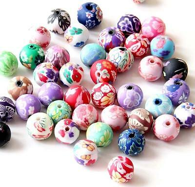 New 35Pcs Pottery Earthenware Flower Design Beads Finding-Jewelry Beads-10mm