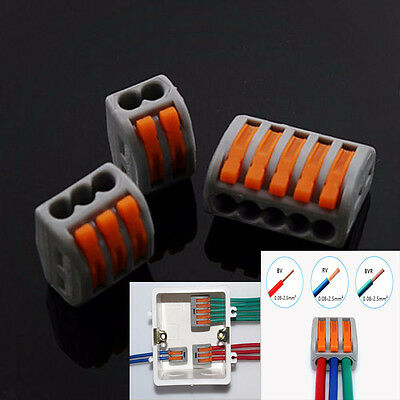 5Pcs 2/3/5Pin Reusable Spring Lever Terminal Block Electric Cable Connector Wire