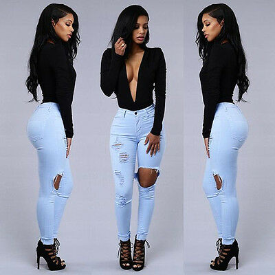 Women Denim Skinny Ripped Pants Hgh Waist Stretch Jeans Slim Pencil Trousers