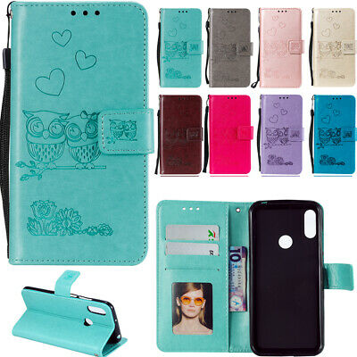 Flip Embossed Owl Patterned PU Leather Card Pocket Wallet Stand Strap Case Cover