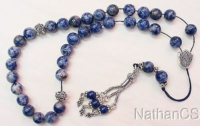 Greek Komboloi worry beads Denim Lapis Lazuli & Sterling silver