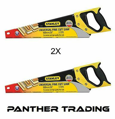 """2X Stanley Fine Sharpcut Handsaw 500mm 20"""" / 11tpi With Hardened Teeth - 120101"""