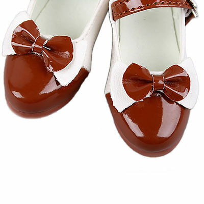 [wamami]1/4 Brown Lace-up Bowknot Fairlady Leather Shoes For MSD BJD Dollfie