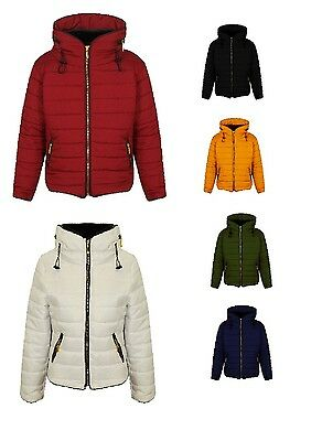 Girls Quilted Puffa Padded Hooded Gold Zip Bubble Fur Collar Warm Thick Jacket