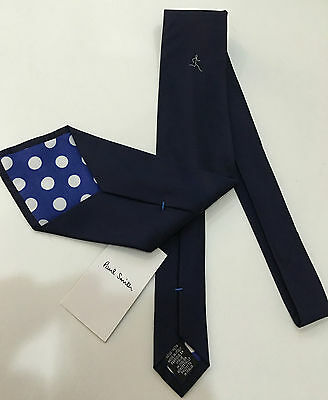 Paul Smith NAVY BLUE TIE with STICKMAN RUNNER 100% SILK 9cm Made in Italy