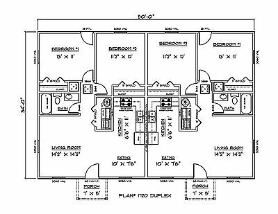 Set of Plans for Affordable Duplex 1700 Sq. Ft. Htd.