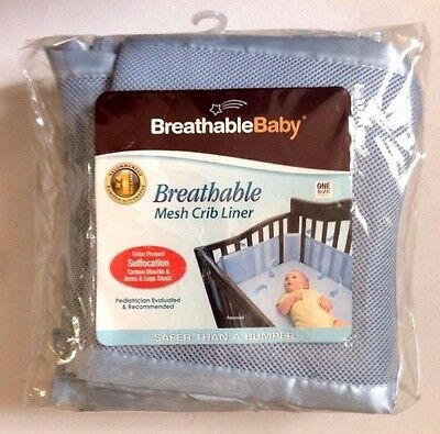 BreathableBaby BLUE Breathable Mesh Fabric Cribs Liner Fits All Polyester NEW