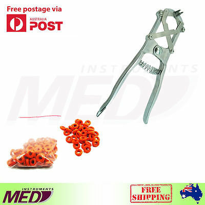 ELASTRATOR Castration PLIERS Applicators Sheep Cattle Docking + 100 Rubber Rings