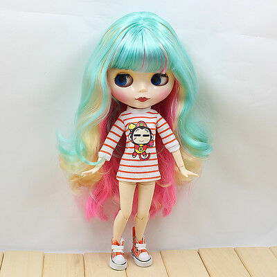 "12"" Neo Blythe Doll from factory Green Mixed hair + jointed articulated body"