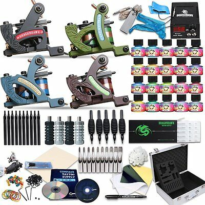 Complete Kit Tattoo Machine Professional Lining Shading Body 4 Gun 20 Ink Color