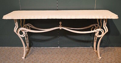 Console Table w/Textured Top and Wrought Iron Welded Base