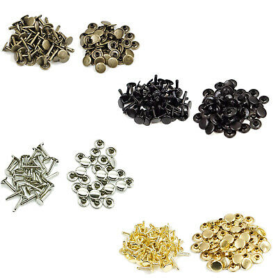 10mm x 18mm Double Cap Rivets Long Metal Studs Pack Leather Crafts - 50 Pcs